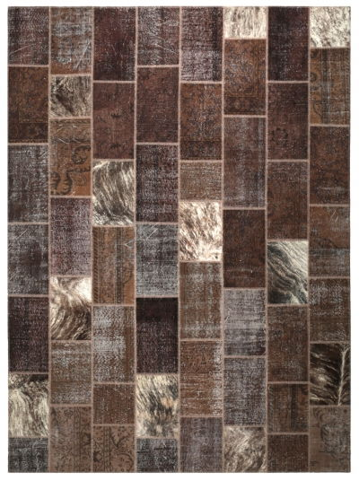 COW HIDE PATCHWORK BROWN