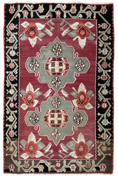 BALKANS HANDWOVEN RUG RED 203x310
