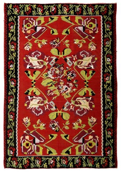 BALKANS HANDWOVEN RUG RED 204x301