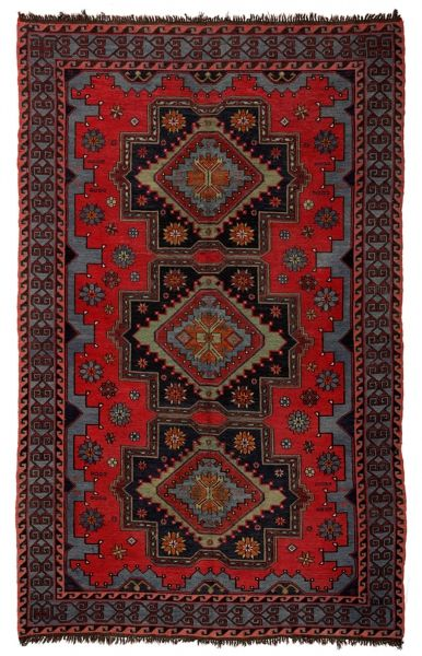 SOUMAK HANDWOVEN RUG RED 195x302