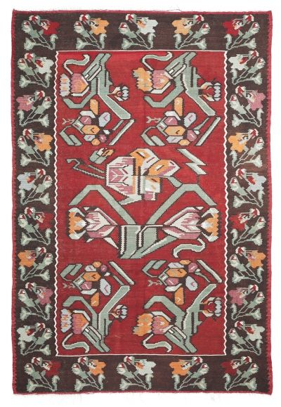 BALKANS HANDWOVEN RUG RED 205x302